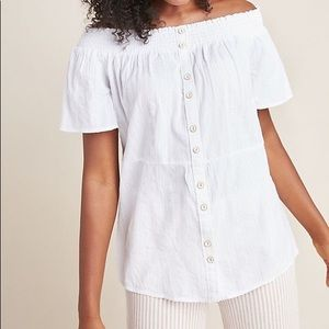 Anthropologie off-the-shoulder button front blouse